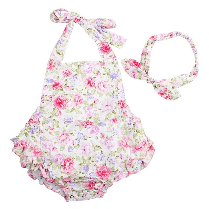 Baby Girls 2pcs Sets Cotton Ruffles Romper Outfits Clothes (S:6Months, Pink Peony)