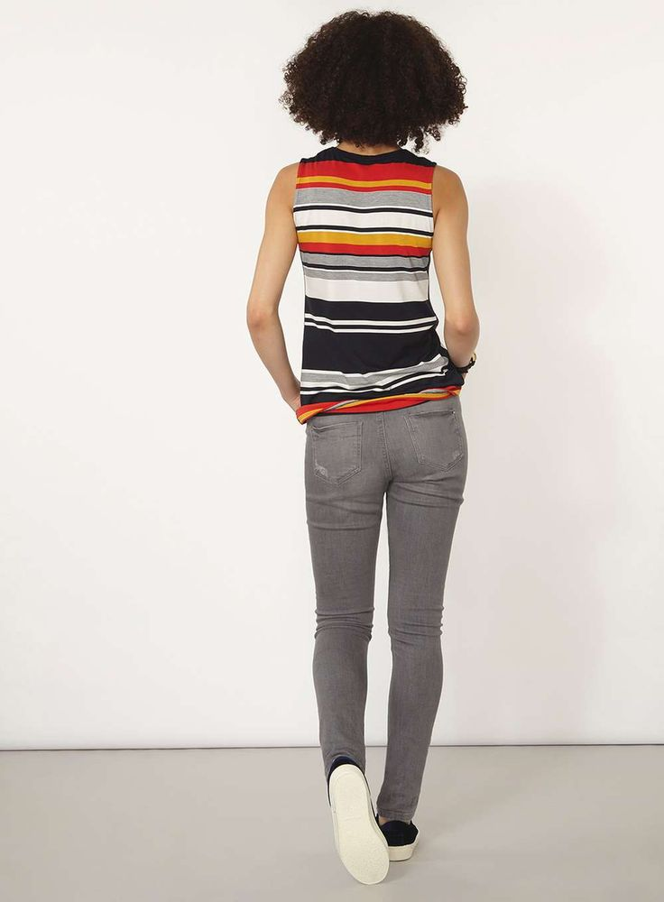 Womens Navy and red stripe tank Top- Blue