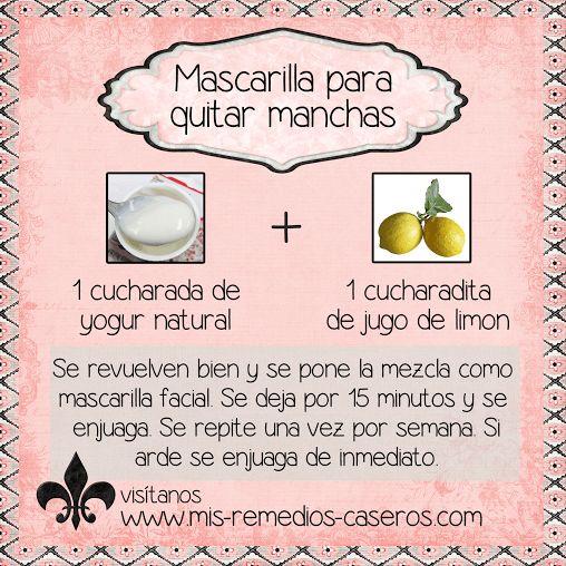Mascarilla para quitar manchas en la piel, manchas por edad, manchas de acné y pecas http://www.mis-remedios-caseros.com/manchas-por-edad.htm