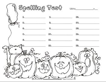 Enjoy This Free Halloween Spelling Test Template Form Pack