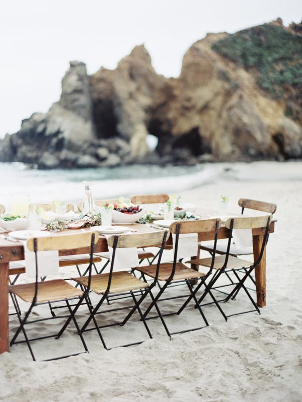 Creative direction + Styling: Joy Thigpen  // Photography: Erich McVey  @Erich Mcvey //  Ceremony location: The overlook at Julia Pfeiffer Burns State Park  //  Reception location: Pfeiffer Beach in Big Sur  //  Dress: Cheryl Taylor  //
