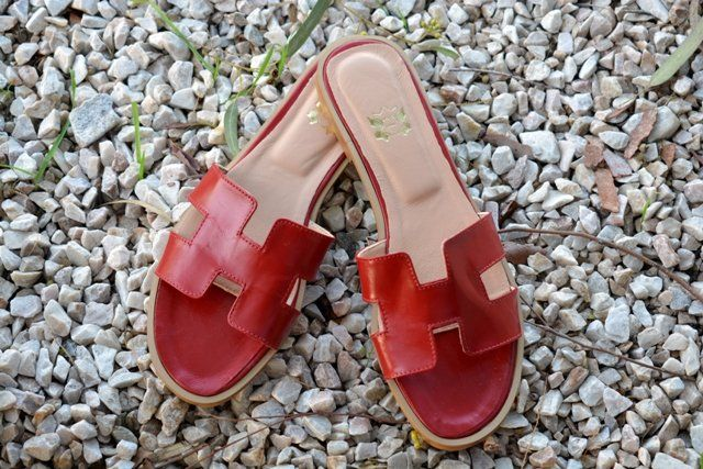 Image of Red Leather Sandals, Red H Slides, Greek Leather Sandals, Red Greek Slides, Many colors