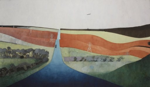Edward Burra. 'English Countryside'. Watercolour and pencil on paper. 1965 - 67.