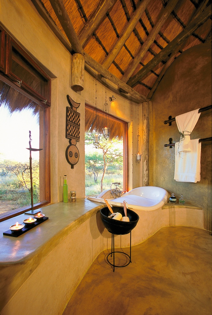Bathroom with a bush view, Okonjima.
