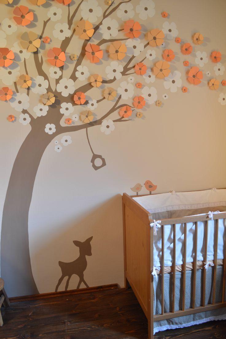 Baba szoba  dekor festés 3D virágok Őzike Baby room Fawn decor wall art