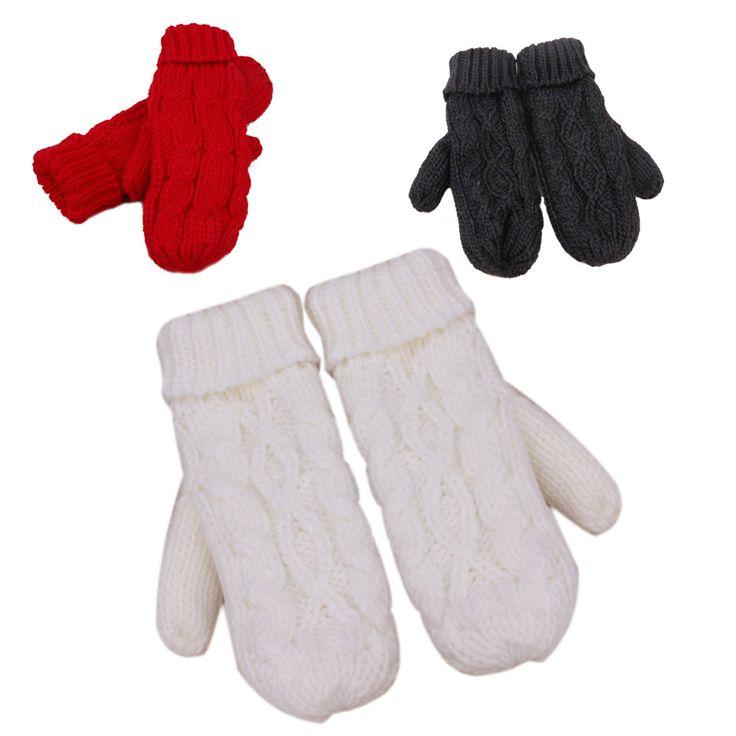 Fashion Women Thick Wool Warm Ladies Winter Knitted Twist Gloves Mittens Women's Accessories