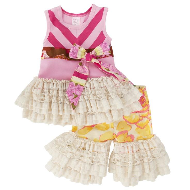 Giggle Moon Infant Girl Flower Market Lace Trim OutfitFlower Marketing, Infants Girls, Moon Infants, Giggles Moon, Baby Girls, Marketing Lace, Girls Flower, Lace Trim, Infant Girls