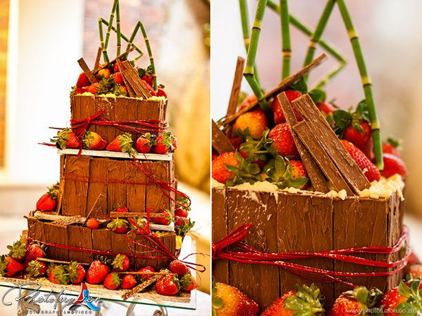 Come have some Chocolate and strawberry #wedding cake