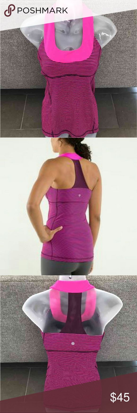 """💕NWOT  Lululemon scoop neck razor back tank top💕 Excellent condition amazing fit, rare vibrant pink and purple color. Sold out in stores! Mesh razor back size tag cut out but I think I runs like a size 6 please refer to the measurements to make sure it would fit you . Armpit to armpit 14"""" length from top to bottom 25.5"""" Lululemon luon material, built in shelf bra which also has small slits to insert your own bra cups .  This top is perfect for all kinds of sports or just wear as your…"""