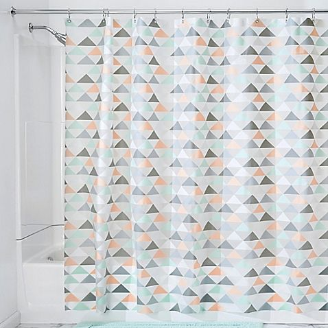 Introduce pattern and color to your bathroom with the InterDesign Triangles Shower Curtain. Featuring a lovely geometric design in coral, mint, and grey, this 100% PEVA shower curtain makes a stylish update to your space.