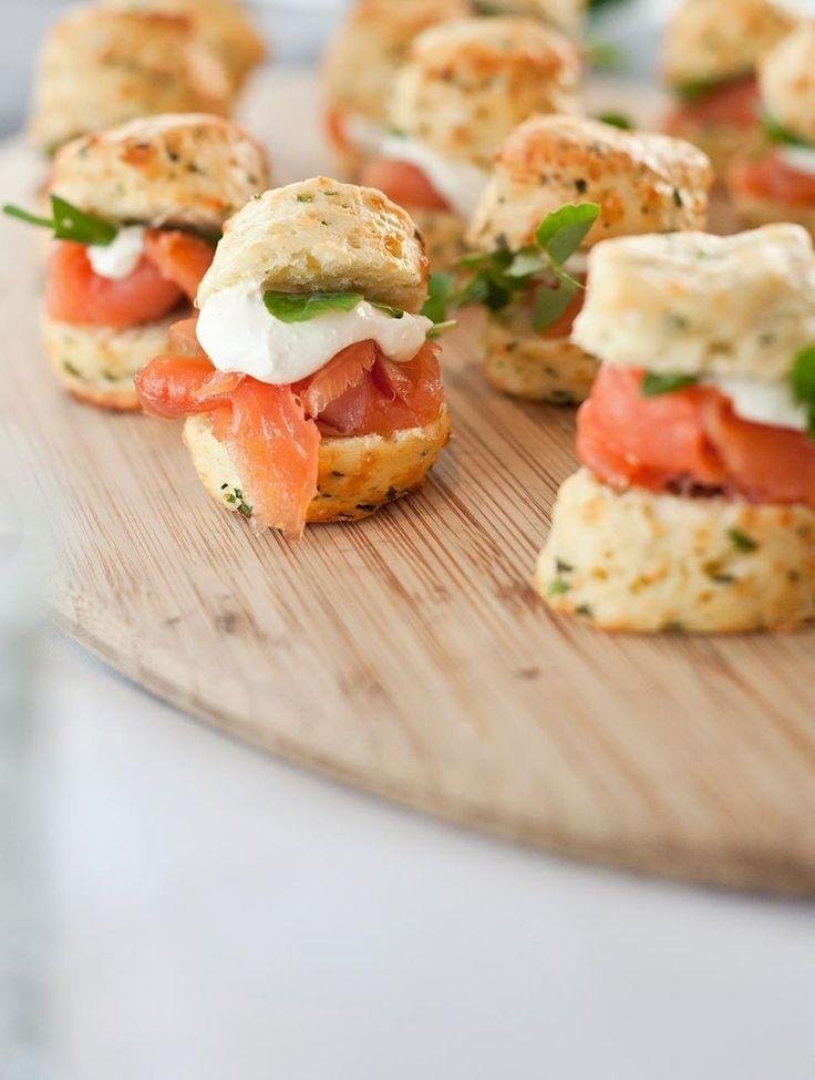 Chive & Cheddar scones, with mascarpone, smoked salmon & dill
