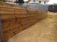 Timber Retaining Wall Galvanised I Beams. Landscaper Pakenham - Ground Up Garden Renovators www.gardenrenovators.com.au