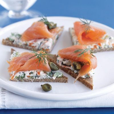 Smoked Salmon Sandwiches- Appetizer Party Recipes - Delish.com