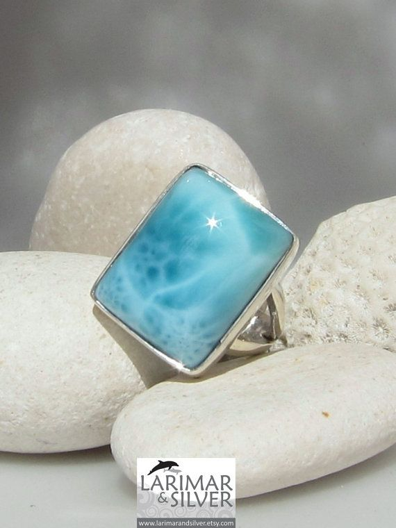 Larimar square ring size 8 1/4  Mermaid Tales by LarimarAndSilver, $75.00