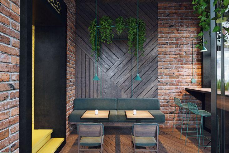 Для оформления второго зала студия Zooi использовала желтый цвет. Кирпичные стены лофта стилистически объединяют эти два пространства.