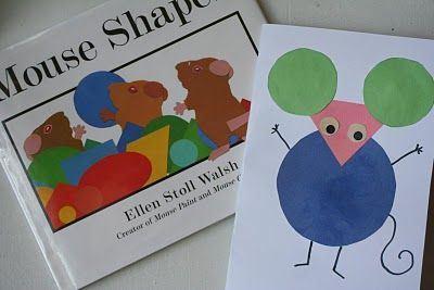 shapes.Mouse Preschool Craft, Preschool Shape Crafts, Mouse Crafts Preschool, Book And Craft, Shape Book, Preschool Mouse Crafts, Shape Activities Preschool, Mouse Shape, Art Projects