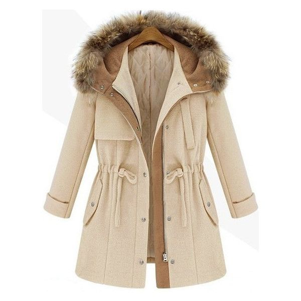 SheIn(sheinside) Beige Hooded Drawstring Pockets Coat ($73) ❤ liked on Polyvore featuring outerwear, coats, jackets, casacos, coats & jackets, beige, pocket coat, short coat, long sleeve coat and brown coat