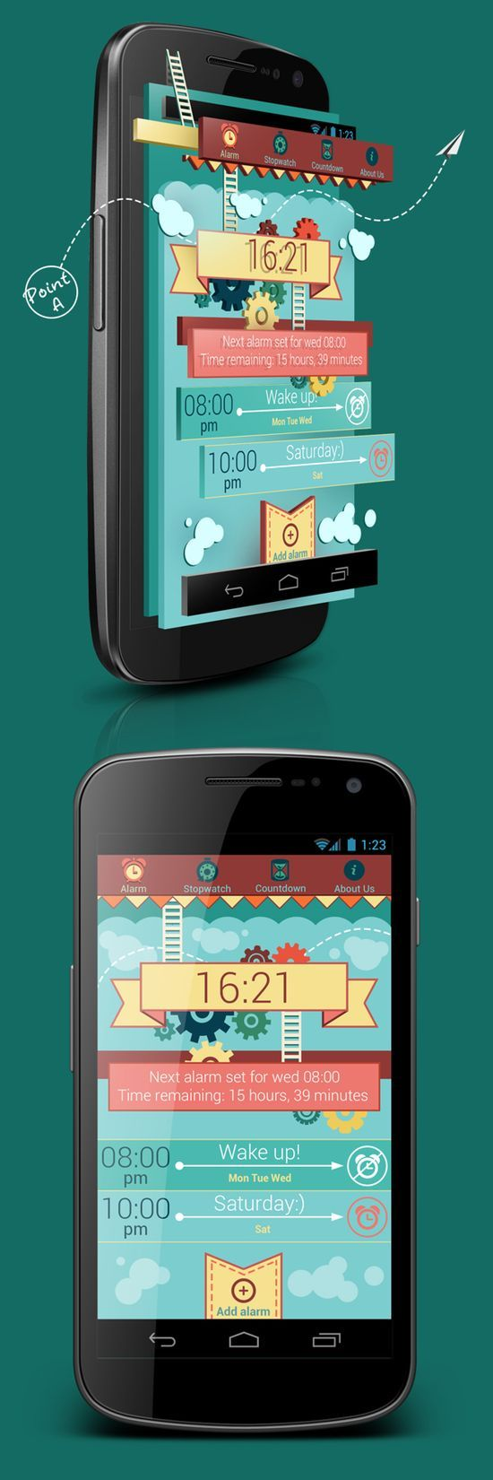 Budila *** Experimental design for the new alarm for Android *** by Sergey Valiukh, via Behance #app #gui #android