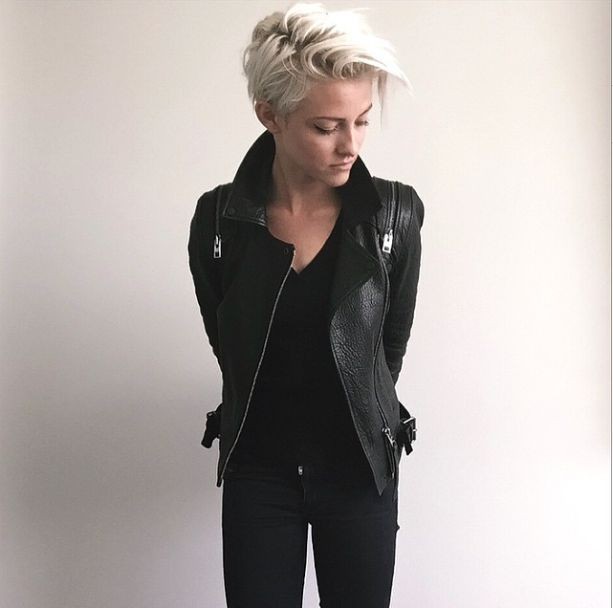 Great leather jacket. I'd love one in wine or blush or olive. I like color!