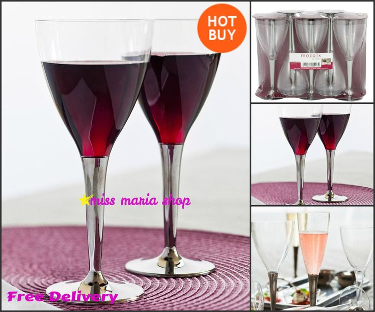 100 Plastic Glasses Disposable Wine Party Catering Event Wedding Silver Reusable