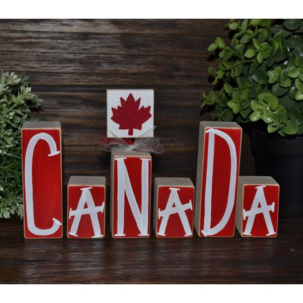 Canada Decor Patriotic Decoration Canadian Block Set Remembrance Day... (25 CAD) ❤ liked on Polyvore featuring home, home decor, dark olive, home & living, home décor, ornaments & accents, british home decor, country style home decor, farmhouse home decor and country home decor