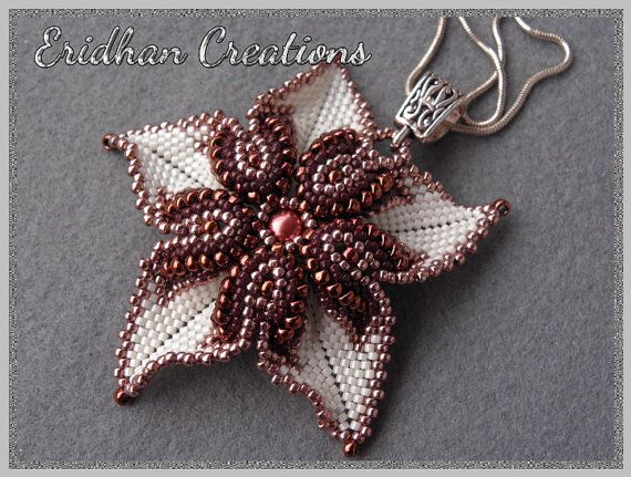 The tutorial is in ENGLISH only. A very eye-catching piece of beadwork, working great as a pendant. The shape resembles me of adenium obesum - the popular desert rose flower, hence the name. The pendant measures 6,5-7 cm (2.5-2.8) at the widest point (without the bail) THIS IS A PEYOTE DESIGN. YOU MUST BE FAMILIAR WITH PEYOTE STITCH IN ORDER TO MAKE THIS PIECE. I DO NOT RECOMMEND THIS PATTERN FOR A BEGINNER. I STRONGLY ADVICE THAT YOU HAVE SOME EXPERIENCE WITH PEYOTE STITCH. THIS IS A ROW…