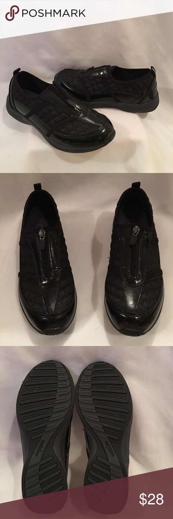 🆕Easy Spirit Amore black patent leather shoes New without tags or box Stylish comfortable Easy Spirit Amore Black Patent leather with quilted polyester walking shoe with zip top. Size 8 1/2 Easy Spirit Shoes Athletic Shoes