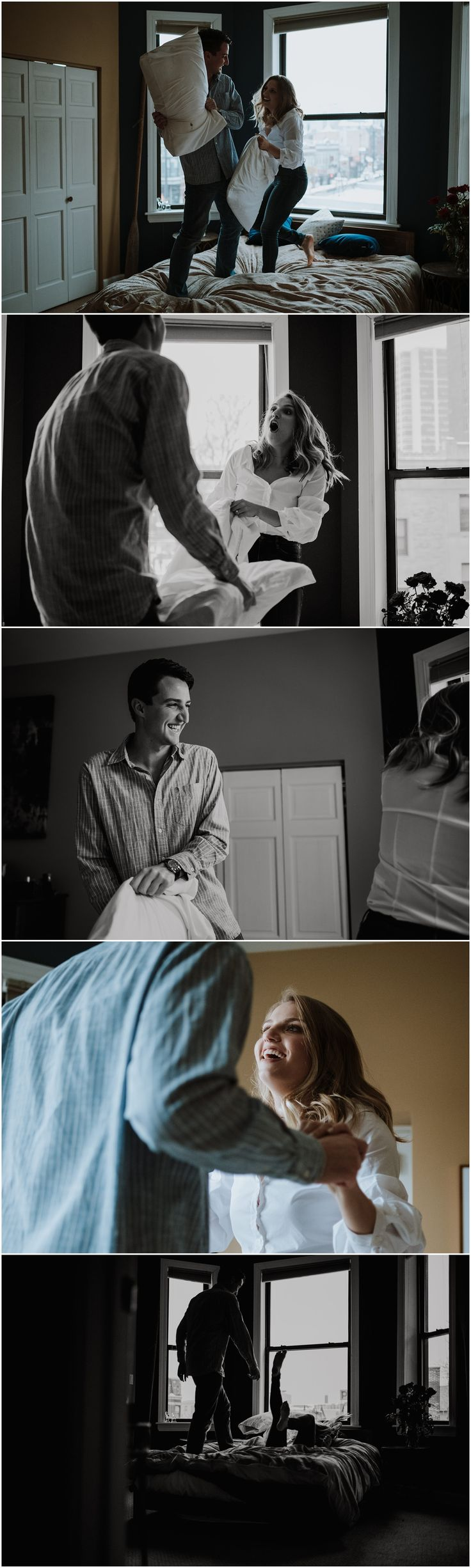 In-home moody couples lifestyle session. Chicago engagement photographer Iron and Honey Photography
