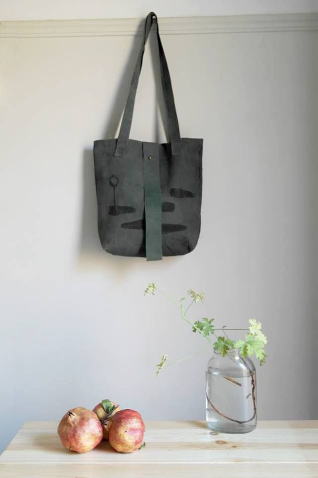 handprinted leather tote bag everyday chic special leather tote green leather black print saysomething lab design handmade handprinted linocut happy new year photo visit us on Etsy!!