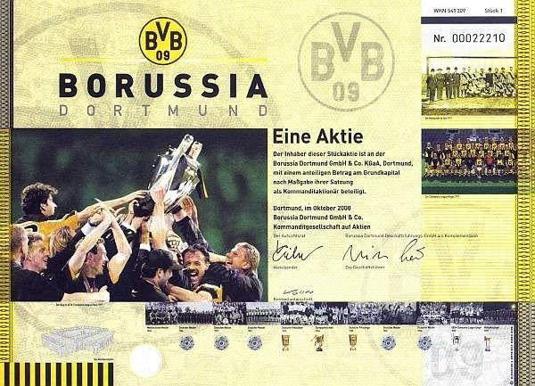 Eine Aktie Borussia Dortmund,  Oktober 2000