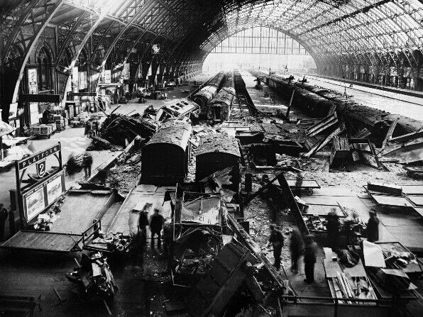 St Pancras Station - London. Photograph taken in May 1941 after fice bombs hit the station. One of which got through the; roof,  platform and floor before exploding on the undercroft causing serious damage to the station.
