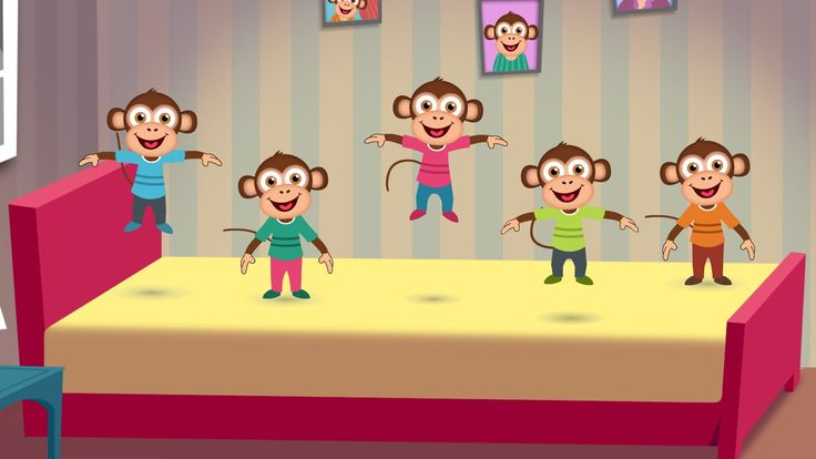 Five Little Monkeys Jumping on the Bed Nursery Rhyme - Cartoon Animation...