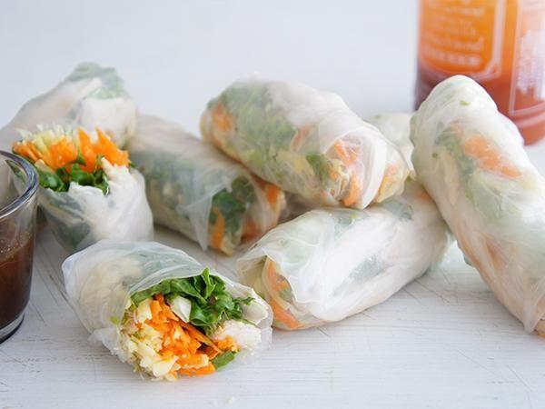Simple rice paper rolls recipe.