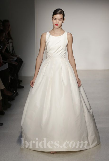 """Brides: Amsale - Fall 2013. """"Astor"""" sleeveless faille de soie ball gown wedding dress with bateau neckline and illusion back, Amsale"""