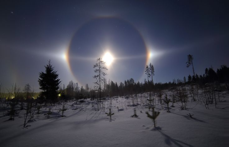 Mike Reva posted a photo:  Canon6d+samyang 14mm f3,2 iso 640 8s  A really impressive Moon halo i was lucky to witness this weekend. Ice crystals were in the air for about 2 hours providing an awesome show. As the Sun was setting a very close looking halos were visible, however i was skiing far from home and couldnt capture it..... was really nice to have a second chance later after the sunset.  The temperature this time wasn't really low, just -9С.  To learn more about this particular halo…