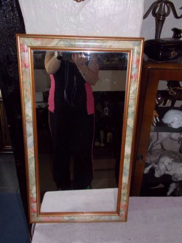 Vintage-gold-and-floral-ornate-mirror-rectangle-gilded-edge-wood-frame-39x70cm