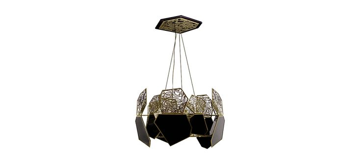 Hypnotic chandelier has an unique design featured in black and gold. This pendant light finished is in polished brass and black glass resulting in a luxury chandelier.