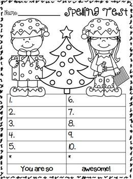 SPELLING TEST FREEBIES ~ DECEMBER EDITION!!! ENJOY!!!!