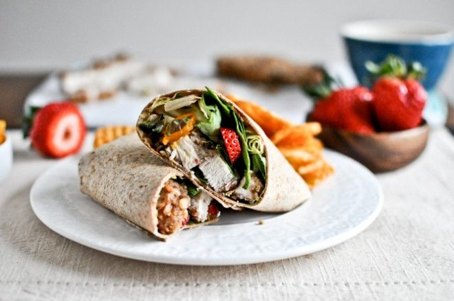 Pecan Crusted Chicken Wraps with Strawberry Honey Mustard.