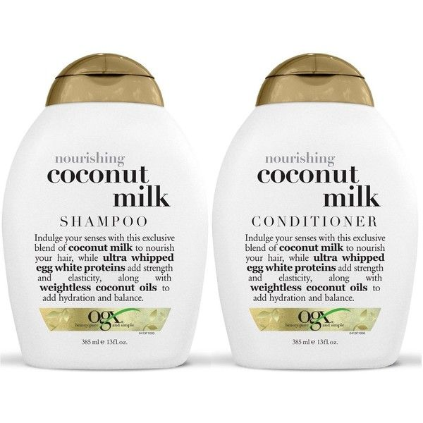 OGX Nourishing Coconut Milk Sulfate-Free Shampoo and Conditioner (makes my hair so soft and strong)