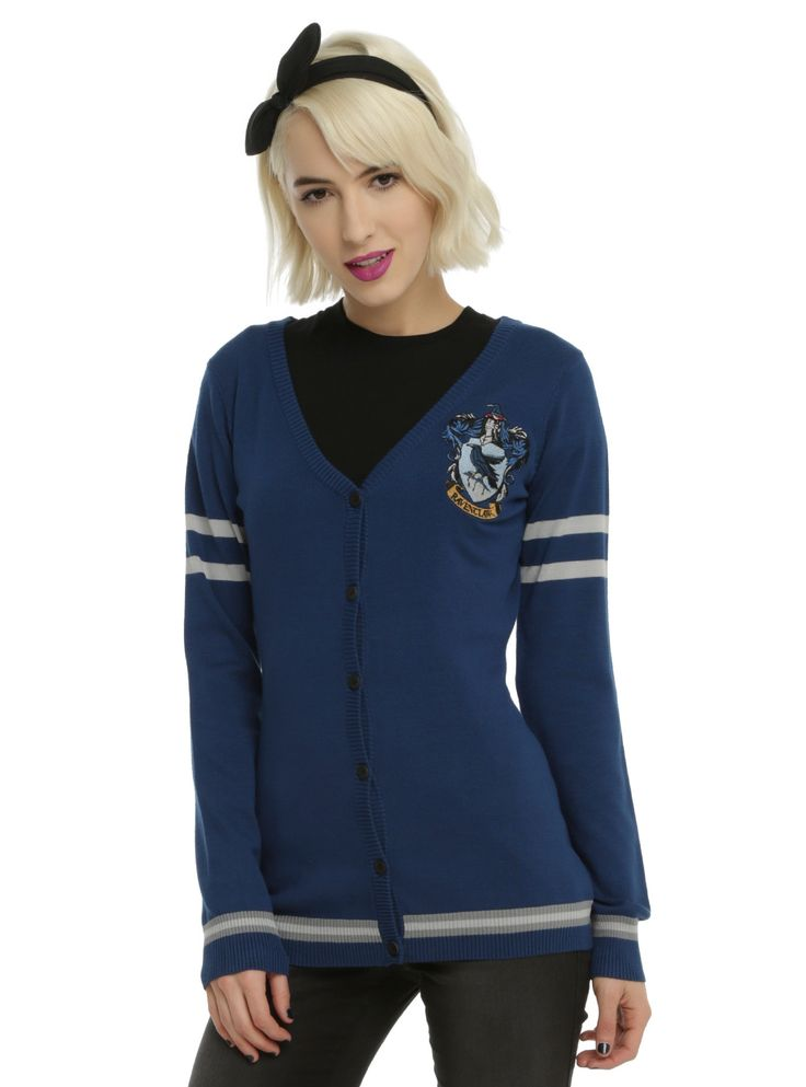 """Wit beyond measure is man's greatest treasure."" - Rowena Ravenclaw    As you're walking through the halls at school, pretend you're a student at Hogwarts while wearing this cardigan from  Harry Potter . It's dark blue with an embroidered Ravenclaw house crest, grey stripes and front botton-up closure. Intelligence, wit and creativity... yeah, you belong in Ravenclaw.         71% rayon; 29% polyester    Wash cold; dry low    Imported    Listed in ju..."