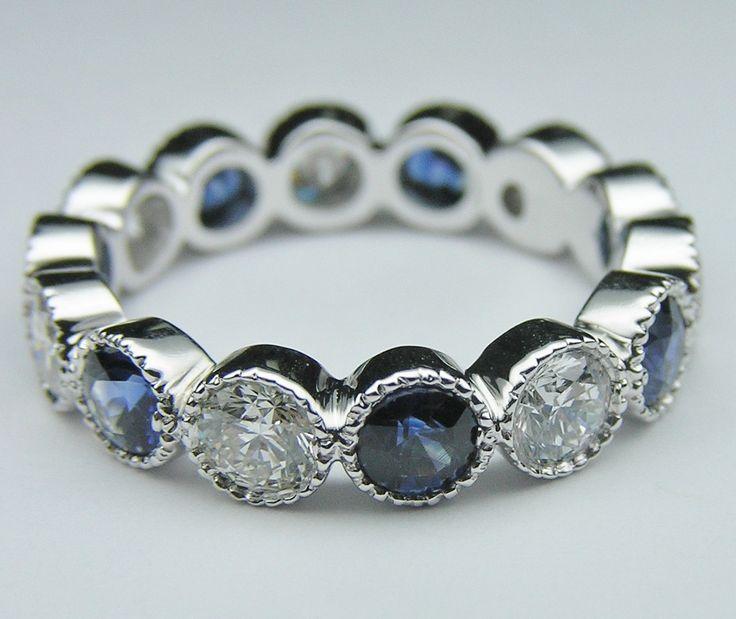 Wedding Band - Diamond & Blue Sapphire Vintage Eternity Wedding Ring