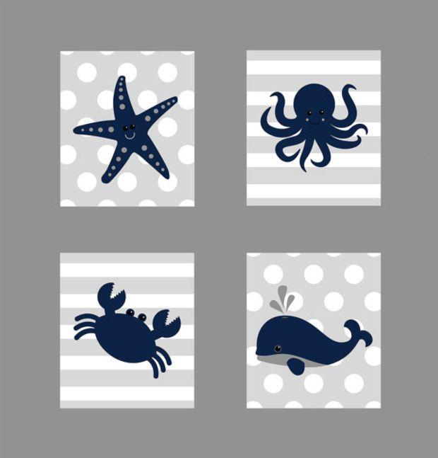 Nautical Prints, CUSTOMIZE YOUR COLORS, Starfish Octopus Crab Whale, Navy Gray Nautical Nursery Decor Print Kids Art Baby Room Baby Boy