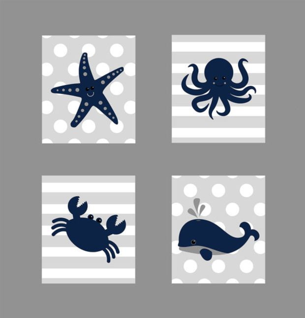 Nautical Prints, CUSTOMIZE YOUR COLORS, Starfish Octopus Crab Whale, Navy Gray Nautical Nursery Decor Print Kids Art Baby Room Baby Boy