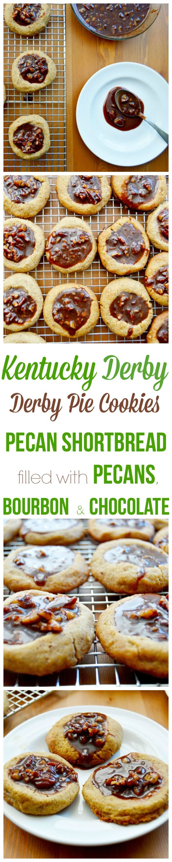 Kentucky Derby Cookies - inspired by Derby Pie or Chocolate Nut Pie. These cookies have a pecan short bread base that's filled with bourbon, chocolate, and more pecans.  Perfect for Kentucky Derby parties but really good any time of the year!