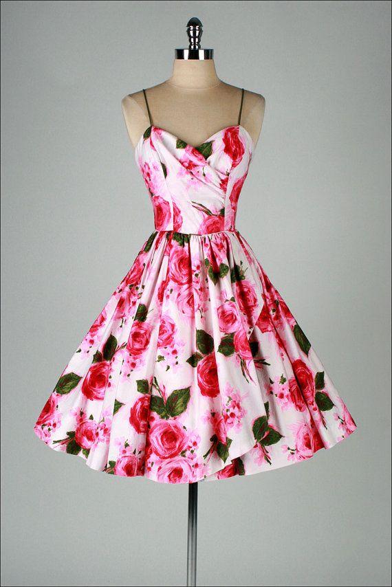 Vintage 1950s Dress Tabak Ca Pink Floral Print