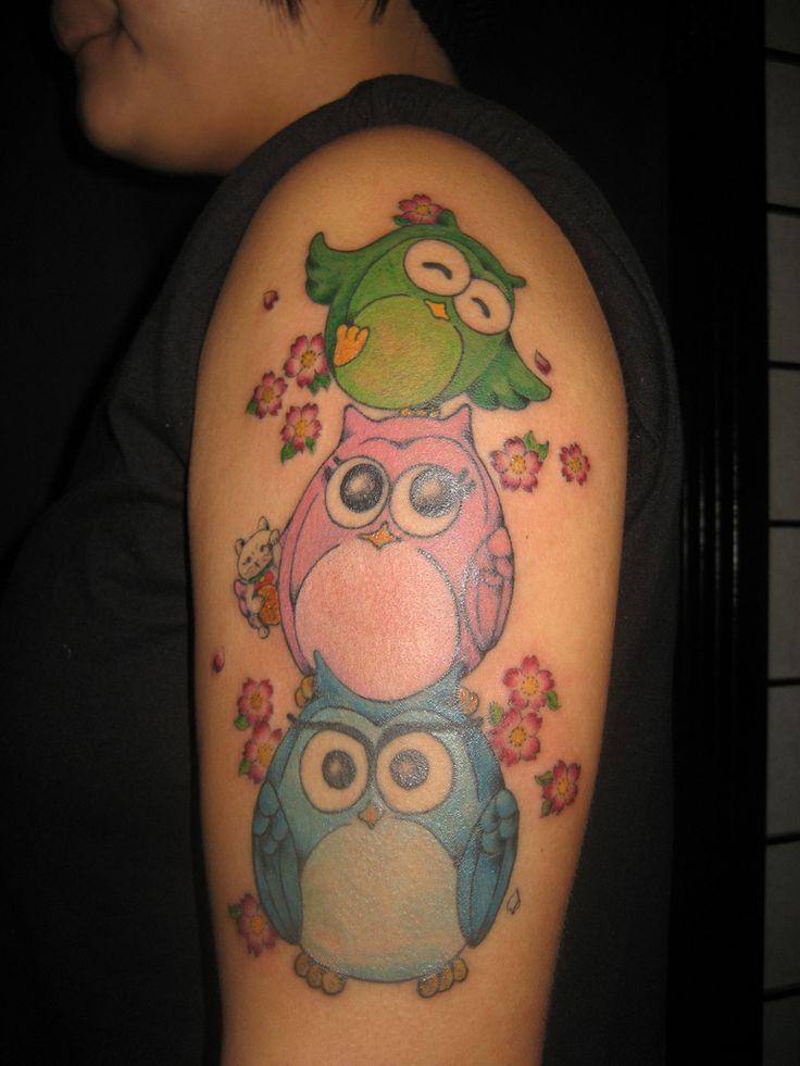 girly new school owl tattoo - Google Search | tattoos