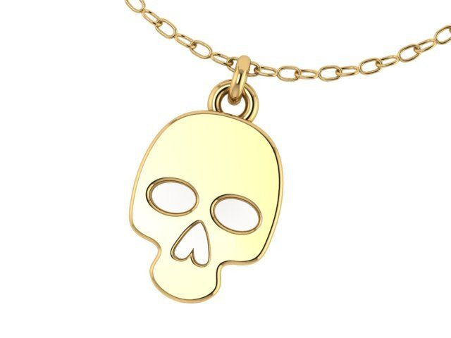 Small Skull 14k YELLOW GOLD Pendant with 14K yellow gold Chain- UDINC0517