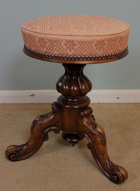 Antique Piano Stool Victorian Walnut Antique Piano Stool