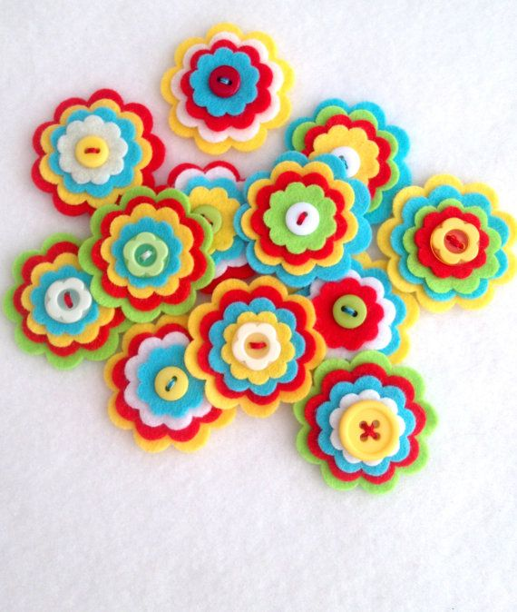 x3 Handmade Layered Felt Flower RIO Button Embellishments Brooche Summer Tropical Bright Colours